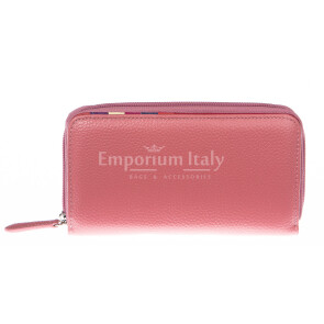 Ladies wallet in genuine traditional leather SANTINI mod CAMOMILLA color PINK, Made in Italy.
