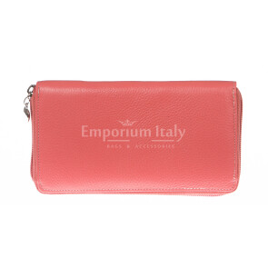 Ladies wallet in genuine traditional leather SANTINI mod BIANCOSPINO color PINK, Made in Italy.