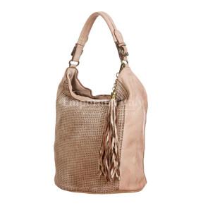 VIVIENNE : женская сумка из мягкой винтажной кожи, цвет: РОЗОВЫЙ, производство Италия