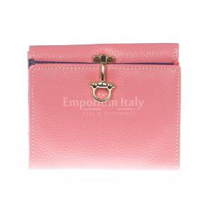 Portafoglio in vera pelle da donna MIMOSA, colore ROSA, SANTINI, MADE IN ITALY