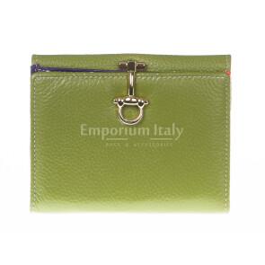 Portafoglio donna in vera pelle tradizionale SANTINI mod MIMOSA colore VERDE Made in Italy.