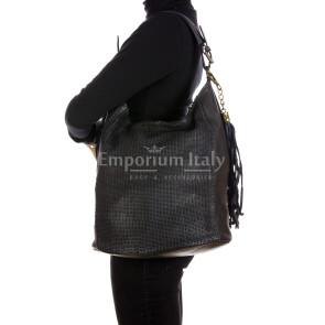 VIVIENNE : женская сумка из мягкой винтажной кожи, цвет: черный, производство Италия