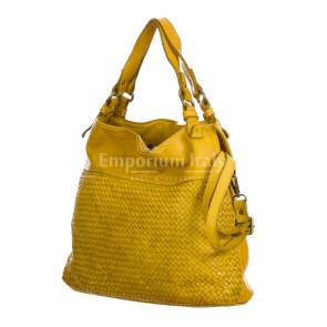 VANDA: сумка женская из мягкой винтажной кожи, цвет: ЖЁЛТЫЙ, производство Италия