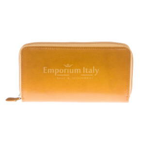 Ladies wallet in genuine traditional leather SANTINI mod FIORDALISO color YELLOW, Made in Italy.