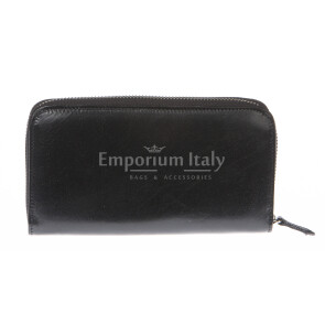 Mens / Ladies wallet in genuine traditional leather SANTINI mod MUGHETTO color BLACK, Made in Italy.