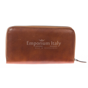 Mens / Ladies wallet in genuine traditional leather SANTINI mod MUGHETTO color HONEY, Made in Italy.