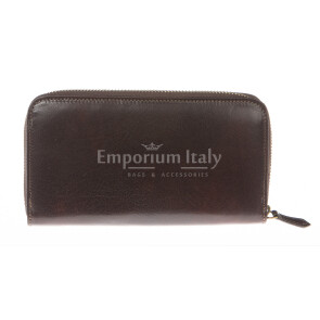 Mens / Ladies wallet in genuine traditional leather SANTINI mod MUGHETTO color DARK BROWN, Made in Italy.