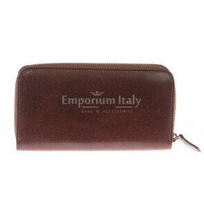 Mens / Ladies wallet in genuine traditional leather SANTINI mod MUGHETTO color BROWN, Made in Italy.