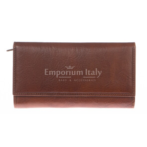 Ladies wallet in genuine traditional leather SANTINI mod SILENE color HONEY, Made in Italy.