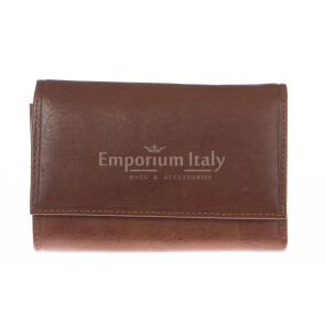 Ladies wallet in genuine traditional leather SANTINI mod PEONIA color HONEY, Made in Italy.