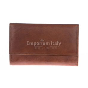 Ladies wallet in genuine traditional leather SANTINI mod ANEMONE color HONEY, Made in Italy.