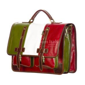 ERNESTO: cartella /borsa ufficio uomo, in cuoio, colore: TRICOLORE, Made in Italy