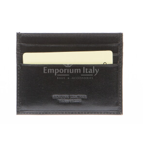Mens / Ladies cardholder in genuine traditional leather SANTINI mod BELGIO, color BLACK, Made in Italy.