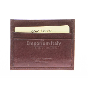 Mens / Ladies cardholder in genuine traditional leather SANTINI mod BELGIO, color BROWN, Made in Italy.