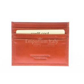 Mens / Ladies cardholder in genuine traditional leather SANTINI mod BELGIO, color ORANGE, Made in Italy.
