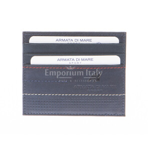 Mens / Ladies cardholder in genuine sauvage leather ARMATA DI MARE mod CIPRO, color BLUE, Made in Italy.