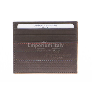Mens / Ladies cardholder in genuine sauvage leather ARMATA DI MARE mod CIPRO, color DARK BROWN, Made in Italy.