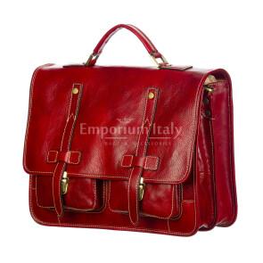 ERNESTO: cartella /borsa ufficio uomo, in cuoio, colore: ROSSO, Made in Italy