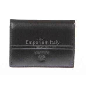 Porta tessere - carte di credito uomo / donna in vera pelle tradizionale SANTINI, mod SVEZIA, colore NERO, Made in Italy.