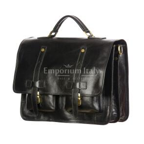 ERNESTO: cartella /borsa ufficio uomo, in cuoio, colore: NERO, Made in Italy