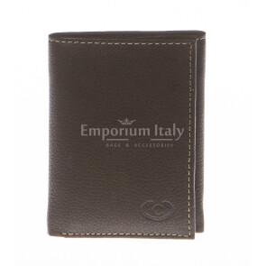Mens wallet in genuine sauvage leather EMPORIO TITANO, mod AUSTRALIA, color DARK BROWN, Made in Italy.