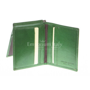 Mens wallet in genuine traditional leather SANTINI, mod CAPO VERDE, color GREEN, Made in Italy.