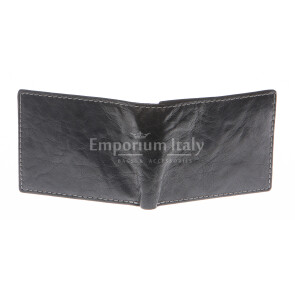 Mens wallet in genuine sauvage leather SANTINI, mod LUSSEMBURGO maxi, color BLACK, Made in Italy.