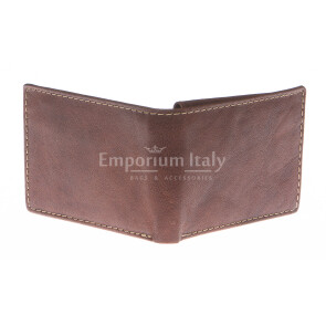Mens wallet in genuine sauvage leather SANTINI, mod LUSSEMBURGO maxi, color BROWN, Made in Italy.
