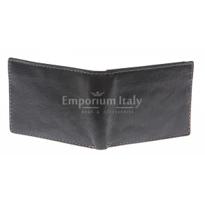 Mens wallet in genuine sauvage leather SANTINI, mod LUSSEMBURGO mini, color BLACK, Made in Italy.