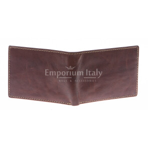 Mens wallet in genuine sauvage leather SANTINI, mod LUSSEMBURGO mini, color BROWN, Made in Italy.