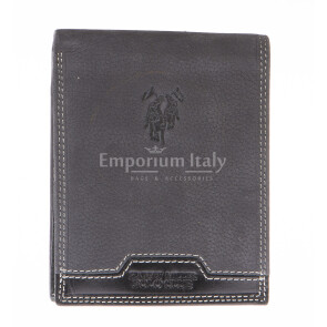 Mens wallet in genuine nubuck leather HARVEY MILLER, mod MONGOLIA, color GREY, Made in Italy.