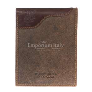 Mens wallet in genuine nubuck leather HARVEY MILLER, mod GAMAICA, color DARK BROWN, Made in Italy.