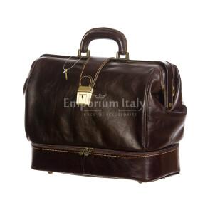 LEONIO : borsa dottore / ventiquattrore, uomo-donna, in cuoio, colore: TESTAMORO, Made in Italy