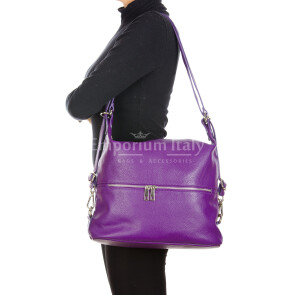 MONTE SIERRA : borsa - zaino, donna, pelle morbida, colore : VIOLA, Made in Italy