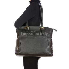 CLERY : borsa donna a spalla in pelle morbida, colore : NERO, Made in Italy.