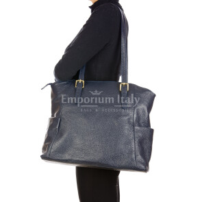 CLERY : ladies shoulder bag in soft leather, color : BLUE, Made in Italy.