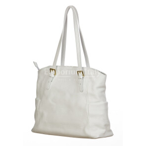 CLERY : ladies shoulder bag in soft leather, color : WHITE, Made in Italy.