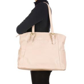 CLERY : borsa donna a spalla in pelle morbida, colore : ROSA, Made in Italy.