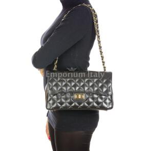 CHARLOTTE MEDIUM : borsa donna in pelle morbida, colore : NERO, Made in Italy