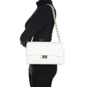 CHARLOTTE MEDIUM : borsa donna in pelle morbida, colore : BIANCO, Made in Italy