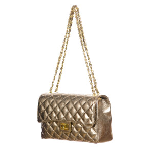 CHARLOTTE MEDIUM : ladies bag in soft leather, color : CHAMPAGNE , Made in Italy