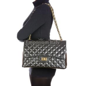 CHARLOTTE MAXI : borsa donna in pelle morbida, colore : NERO, Made in Italy