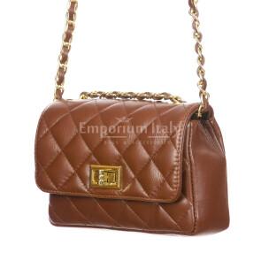 CHARLOTTE MINI : borsa donna in pelle morbida, colore : MARRONE, Made in Italy
