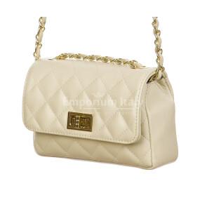 CHARLOTTE MINI : borsa donna in pelle morbida, colore : BIANCO, Made in Italy