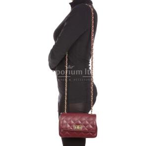 CHARLOTTE MINI : borsa donna in pelle morbida, colore : PRUGNA, Made in Italy