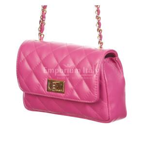 CHARLOTTE MINI : borsa donna in pelle morbida, colore : FUCSIA, Made in Italy