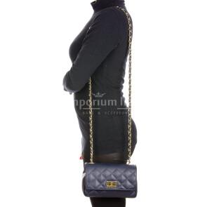 CHARLOTTE MINI : borsa donna in pelle morbida, colore : BLU, Made in Italy (Borsa)