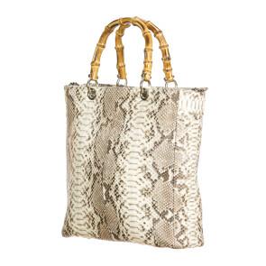 NORMA : borsa donna in pelle di pitone, colore : ROCCIA, Made in Italy