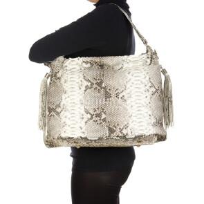 LORNA : borsa donna in pelle di pitone, colore : ROCCIA, Made in Italy