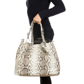 GIANNA : borsa donna in pelle di pitone, colore : ROCCIA, Made in Italy
